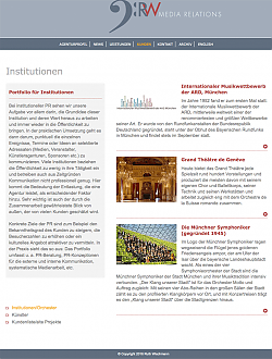 Webseite RW Media Relations - tablet view